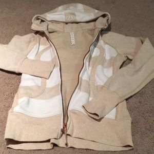 Lululemon white and tan Scuba hoodie. Size 6.